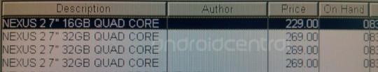 """Die Preise des Nexus 2 7""""? (Quelle: androidcentral.com)"""