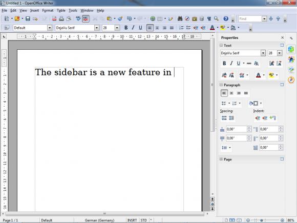OpenOffice 4.0 mit neuer Seitenleiste (Quelle: apache.org)