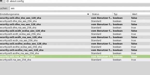 about:config - nach AES suchen und 128 Bit deaktivieren