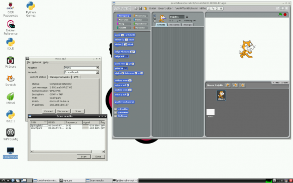 Raspbian mit Scratch und WiFi-Konfiguration geöffnet