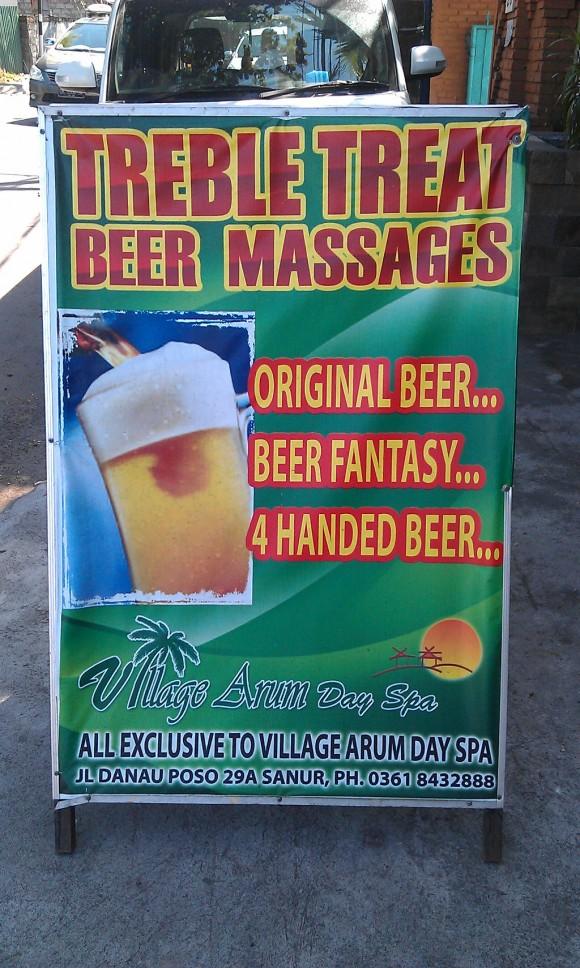 Ich frage mich, was eine Bier-Massage ist ...