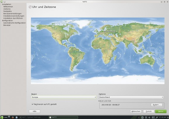 openSUSE 13.1 KDE: Installation - Zeitzone wählen