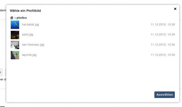 ownCloud 6: Profilbild auswählen