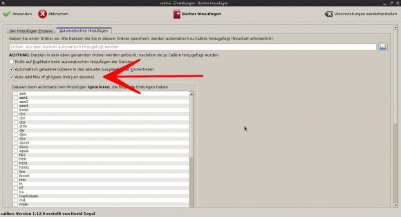 Calibre 1.12: Automatisches Hinzufügen aller Dateien