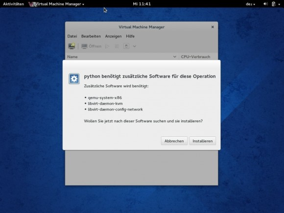 Fedora 20: Virtual Machine Manager