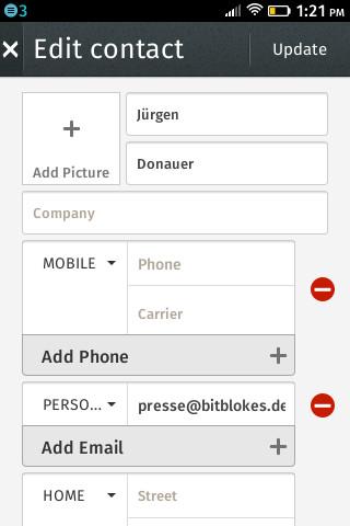 Firefox OS 1.0: Kontakt bearbeiten