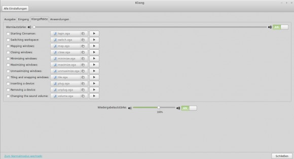 Linux Mint 16: Klänge konfigurieren