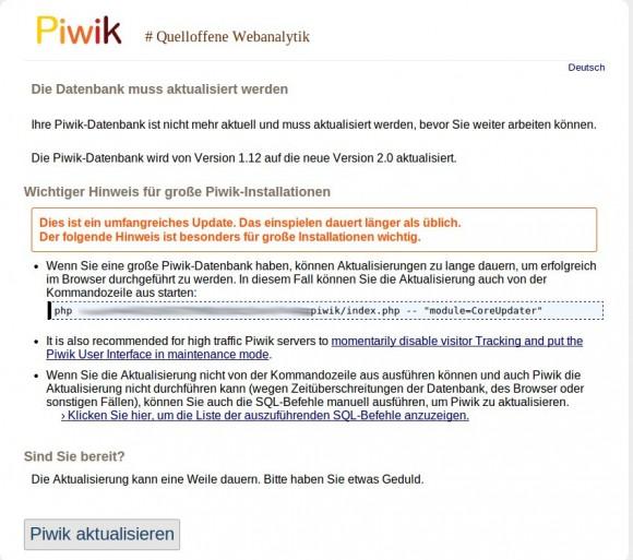 Update auf Piwik 2.0