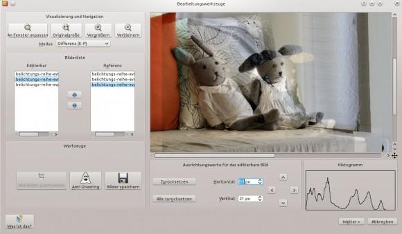 Luminance HDR: Bilder ausrichten