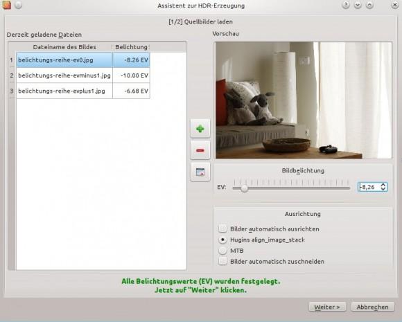 Luminance HDR: Bilder laden