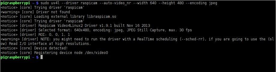 Kameramodul des Raspberry Pi, V4L-Treiber (Video4Linux) und