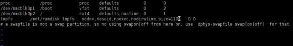 Raspberry Pi: Ramdisk in fstab hinterlegt
