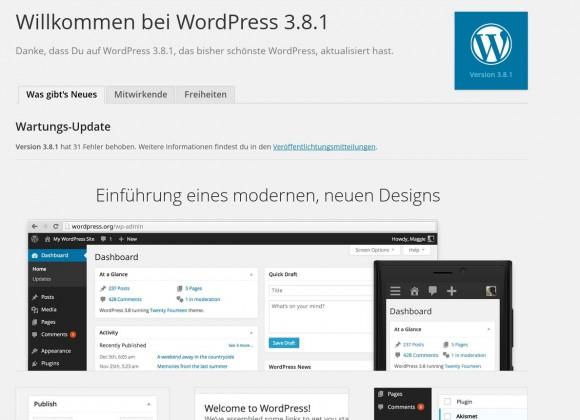 Wordpress 3.8.1: Automatisch aktualisiert