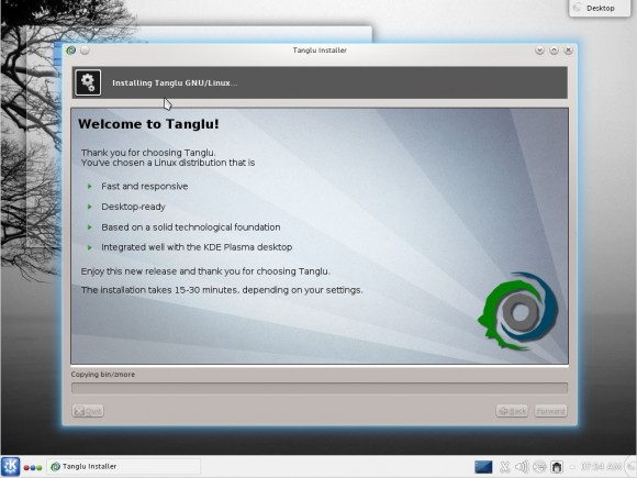 Tanglu 1.0 KDE: Installation
