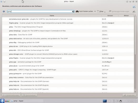 Tanglu 1.0 KDE: Apper - Suche nach GIMP