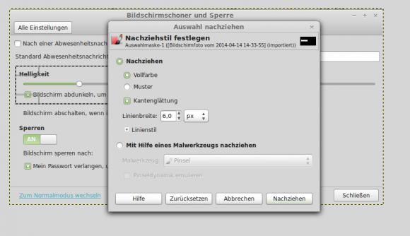 GIMP: Auswahl nachziehen -> Optionen