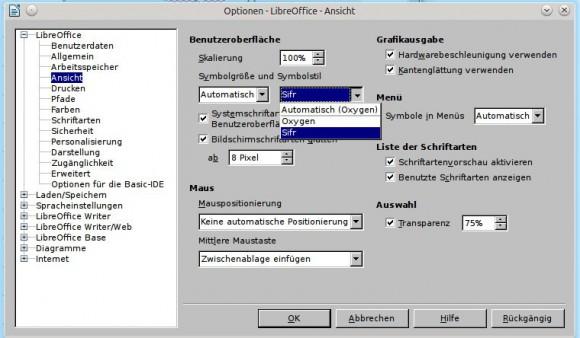 LibreOffice: sifr verwenden