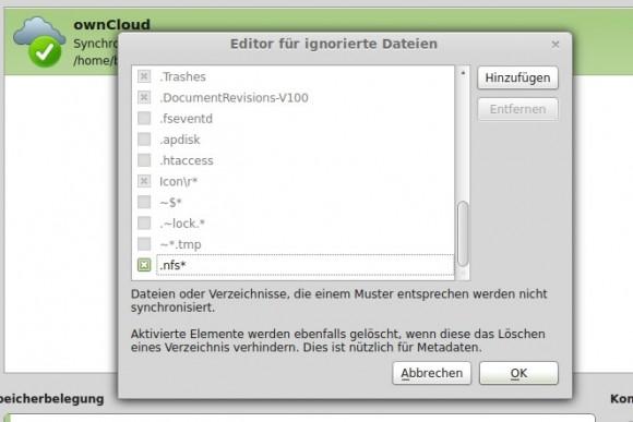 ownCloud: Zu ignorierende Dateien