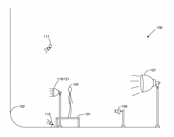 US-Patent, um etwas vor einem weißen Hintergrund zu fotografieren (Quelle: Google.com)