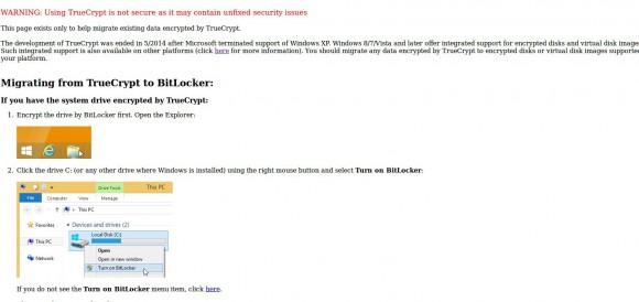 TrueCrypt warnt vor Einsatz