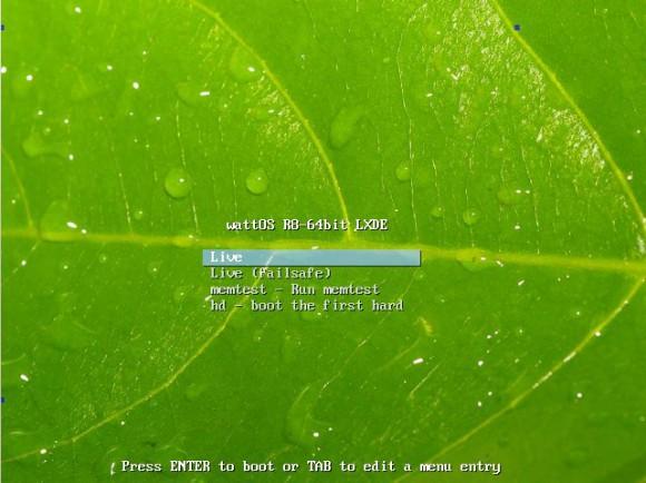 wattOS R8: Startbildschirm