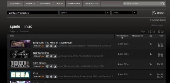 495 Linux-Spiele bei Steam