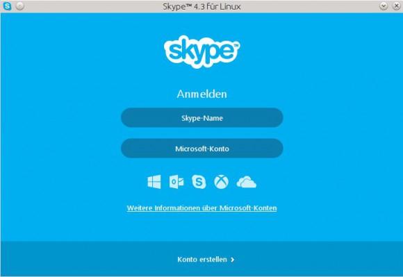 Skype für Linux: Anmeldebildschirm