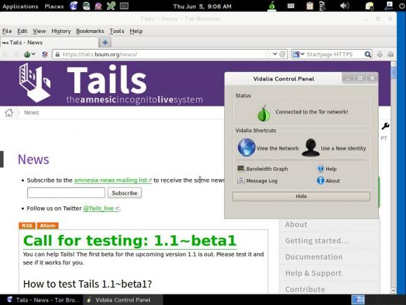 TAILS 1.1: Browser - TOR - Vidalia