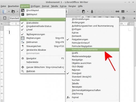 LibreOffice: Formular-Steuerelemente anzeigen lassen