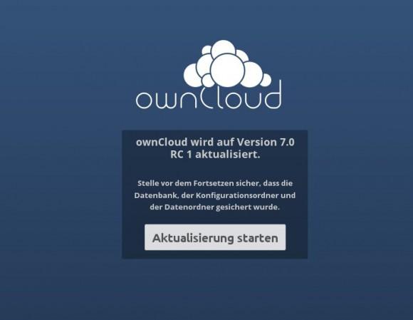 ownCloud von 6 auf 7 aktualisieren: Start