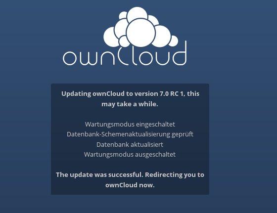 ownCloud von 6 auf 7 aktualisieren:  fertig