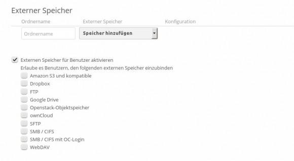 ownCloud 7: Externe Speicher verwalten