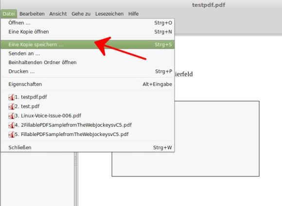 PDF als neue Datei speichern
