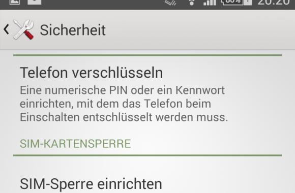 Android: Verschlüsselung möglich