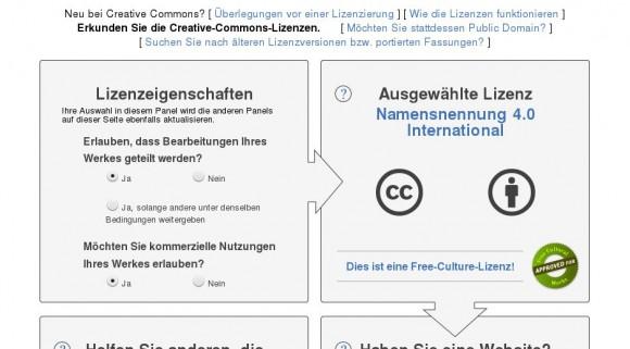 Creative Commons: Verschiedene Optionen