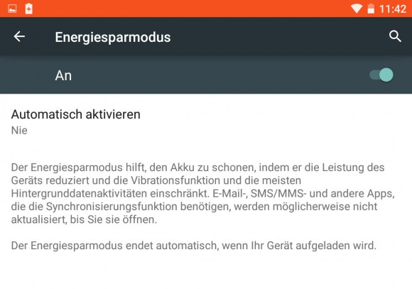 "Android 5 ""Lollipop"": Energiesparmodus"