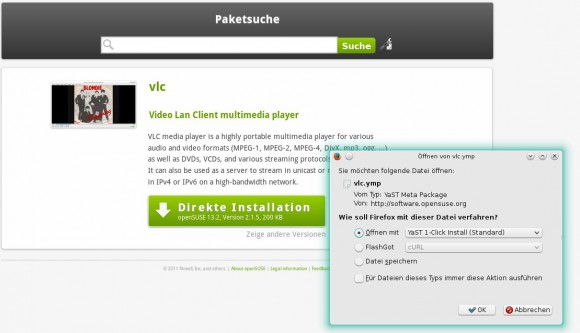 VLC via 1-Klick installieren