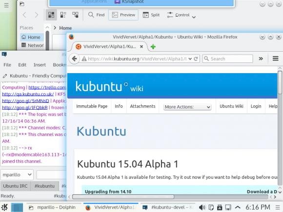 Ubuntu 15.04 Alpha 1: Kubuntu 15.04 mit Plasma 5 als Standard (Quelle: wiki.ubuntu.com)