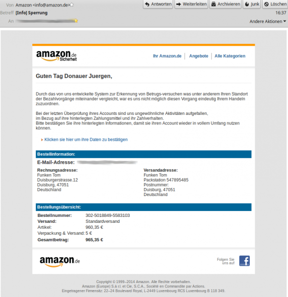 Amazon: Phishing-Versuch