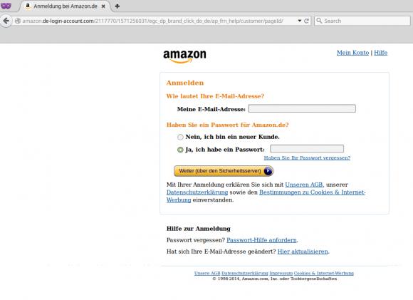 Amazon: Der eigentliche Phishing-Versuch