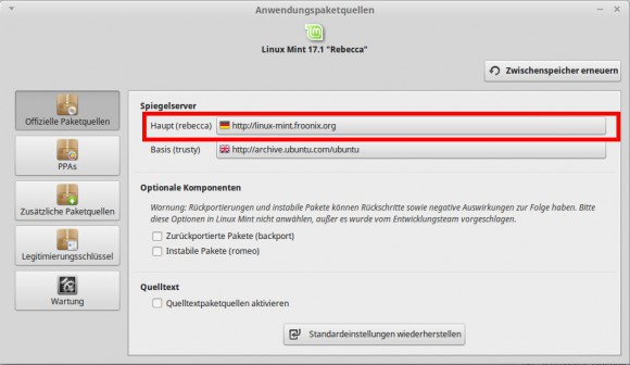 Linux Mint: Haupt-Repository (Main) umstellen