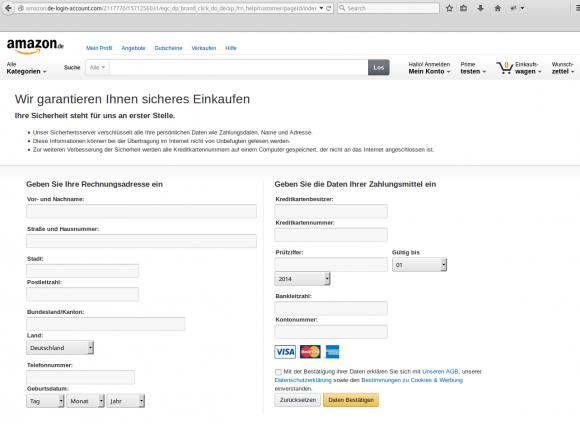 Phishing-Versuch: Daten eingeben
