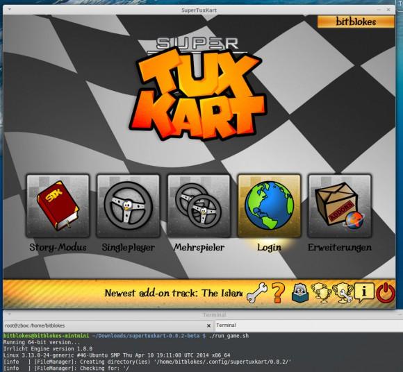 SuperTuxKart 0.8.2 über die Binärdatei für Linux gestartet
