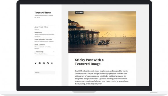 Wordpress 4.1 mit Twenty Fifteen auf einem Desktop (Quelle: wordpress.org)