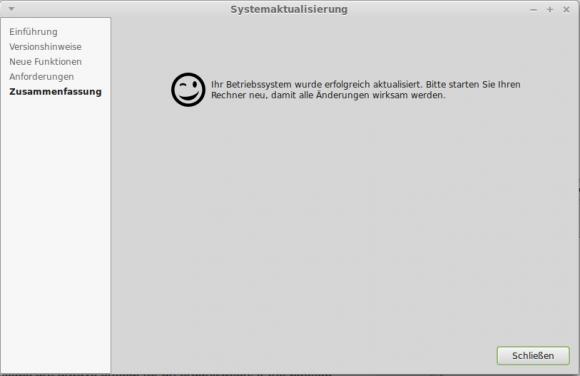 Upgrade-Prozedur: Geschafft
