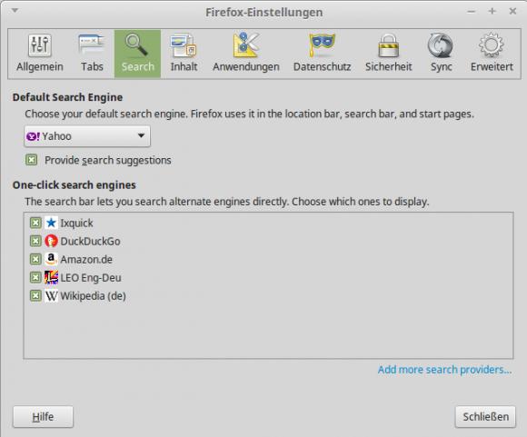 Yahoo! ist Standard-SUchmaschine unter Linux Mint