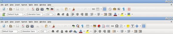LibreOffice 4.4: Symbolleisten vorher (oben) und nachher (unten) (Quelle: documentfoundation.org)