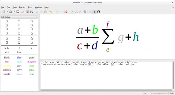 LibreOffice 4.4: Neue Farben für Math (Quelle: documentfoundation.org)