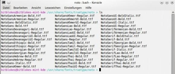 Noto Sans unter /usr/share/fonts/