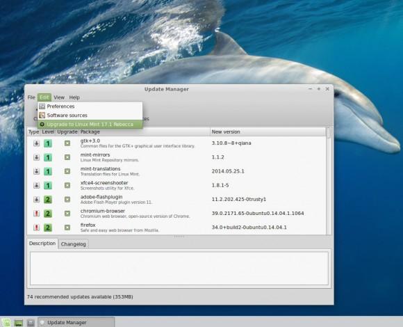 Linux Mint 17.1 Xfce: Upgrade via Update-Manager möglich